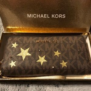 Michael Kors Brown/PlGold Illustrations Wallet NWT